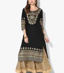 Buy Women's Black Cotton Block Prints Long Straight kurti long-kurtis online