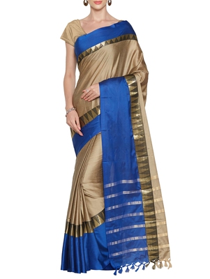 Beige hand woven poly cotton saree with blouse