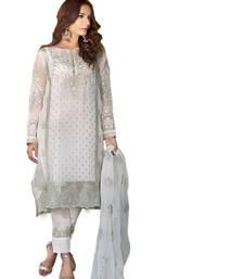 Buy White embroidered georgette salwar semi-stitched-salwar-suit online