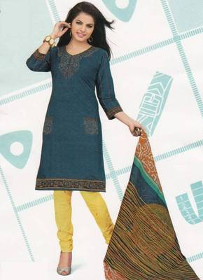 Cotton Dress Material Elegant Designer Unstitched Suit D.No 2124