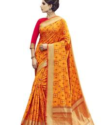 Buy Gold woven pochampally saree with blouse pochampally-saree online
