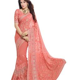 Buy Peach embroidered nazneen saree with blouse ethnic-saree online