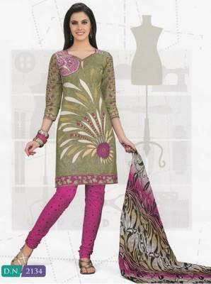 Cotton Dress Material Elegant Designer Unstitched Suit D.No 2134