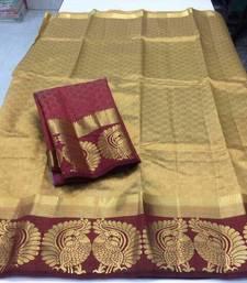 Buy Chiku printed tussar silk saree with blouse below-1500 online