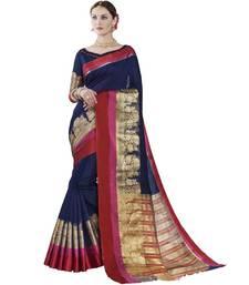 Buy Blue woven cotton silk saree with blouse handloom-saree online
