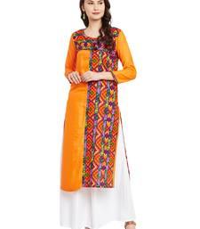 Buy Orange printed cotton stitched kurti kurtas-and-kurtis online