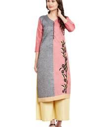 Buy Grey embroidered linen stitched kurti kurtas-and-kurtis online