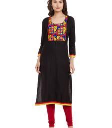 Buy Black embroidered viscose rayon stitched kurti kurtas-and-kurti online