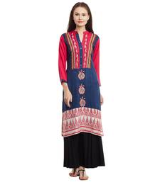 Buy Navy blue embroidered rayon stitched kurti kurtas-and-kurtis online