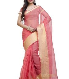 Buy Peach plain cotton saree with blouse kota-saree online