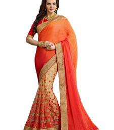 Buy Orange embroidered georgette saree with blouse all-seasons-saree online