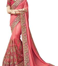 Buy Peach embroidered chiffon saree with blouse designer-embroidered-saree online