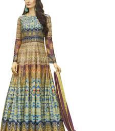 Buy Stylish Multi & Magenta Jersey Printed Gown Style Anarkali Suit jersey-salwar-kameez online