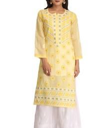 Buy Yellow embroidered cotton chikankari-kurtis chikankari-kurtis online