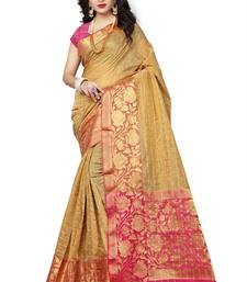 Buy Multicolor printed linen saree with blouse linen-saree online