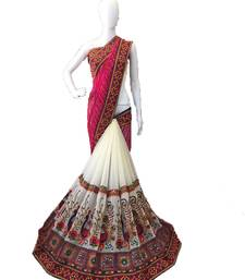 Buy Pink embroidered georgette saree with blouse lehenga-saree online
