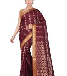 Buy Maroon woven silk saree with blouse traditional-saree online