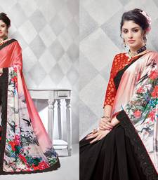 Buy Red embroidered silk blend saree with blouse silk-saree online