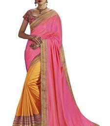 Buy Orange embroidered south silk saree with blouse bangalore-silk-saree online