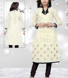 Buy Off white chanderi UnSitched embroidered-kurtis embroidered-kurtis online