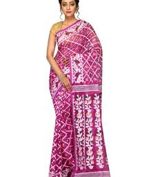 Buy Women's Dhakai Jmdani Saree in Muslin(Purple) jamdani-saree online