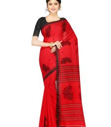 Buy Handloom Pure Khadi Cotton Saree of bengal with Blouse Dhakai Jamdani Saree(Red) handloom-saree online