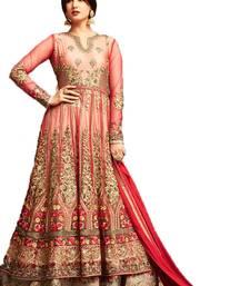Buy Red embroidered net salwar anarkali-salwar-kameez online
