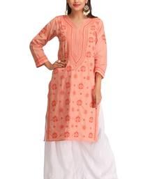 Buy Peach embroidered cotton chikankari-kurtis chikankari-kurtis online