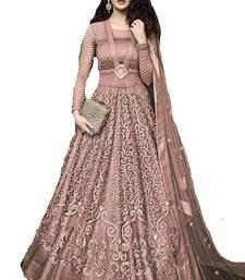 Buy Lavender embroidered net salwar anarkali-salwar-kameez online