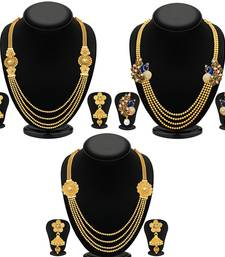 Buy Sukkhi Trendy 4 String Gold Plated Necklace Set Combo For Women (Set of 3) jewellery-combo online