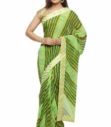 Buy Green printed chiffon saree with blouse leheriya-saree online