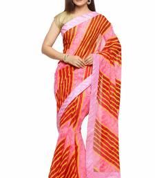Buy Maroon printed chiffon saree with blouse leheriya-saree online