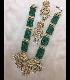Buy gold plated kundan and shell pearls with green onyx chaand multistring long necklace necklace-set online