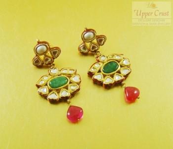 Kundan Pearl Emerald Meena Dangle Earrings