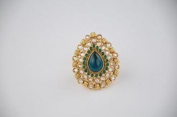 Traditional Oval Shaped Kundan Ring