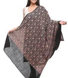 Buy Black Wool Embroidered Pashmina shawl shawl online