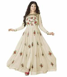 Buy White embroidred faux georgette semi stitched salwar with dupatta semi-stitched-salwar-suit online