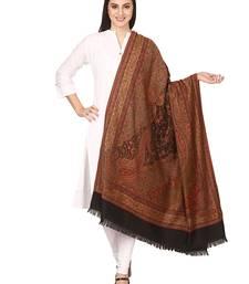 Buy black Wool jacquard Pashmina shawl shawl online