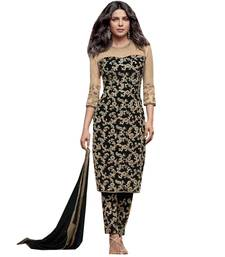 Buy BLACK embroidred faux Georgette unstitched salwar with dupatta dress-material online
