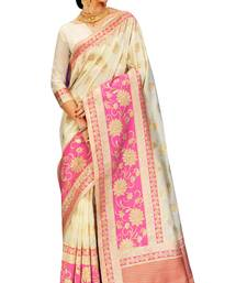 Buy Off white woven silk saree with blouse traditional-saree online