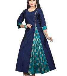 Buy Blue Color Taffeta Silk Anarkali Long Kurti long-kurtis online