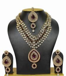 Buy Unique Kundan Necklace Set in Purple with Pearls necklace-set online