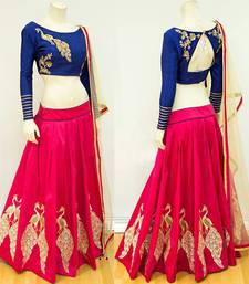 Buy Pink embroidered art silk unstitched lehenga bridal-lehenga online