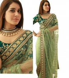 Buy Green embroidered net saree with blouse bridal-saree online