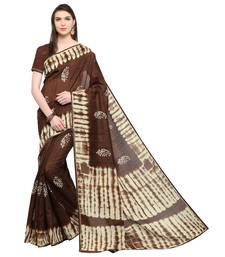Buy Brown printed cotton saree with blouse cotton-saree online