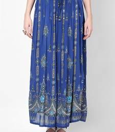 Buy Blue Embroidered Cotton Long Skirt skirt online