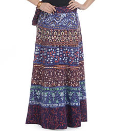 Buy Purple Cotton Printed Wrap Around Long Skirt navratri-skirt online