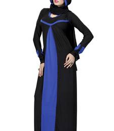 Buy Black and Blue  Islamic lycra plain Abaya With Scarf For Eid/ Wedding abaya online