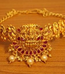 Buy Ruby Gold Look Temple Jewellery Bajuband bajuband online