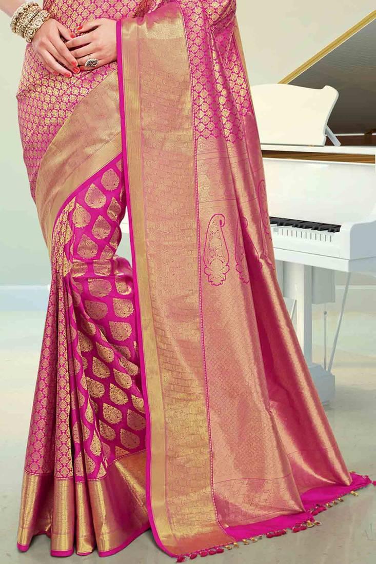 Buy Pink Silk Brocade Zari Waved Saree In Golden Border Amp Pink Pallu Online